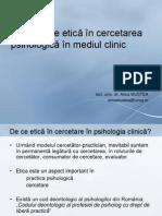 Aspecte de Etica in Cercetarea Psihologica