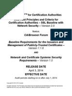 WebTrust CA Audit Criteria - SSL Baseline Requirements 2.0