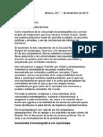 Carta de Comunidad Cinematográfico con Ayotzinapa