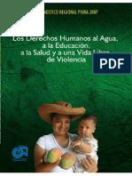 Los Derechos Humanos Al Agua a La Educacion a La Salud y a Una Vida Libre de Violencia Diagnostico Regional Piura