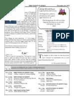 Santa Sophia Bulletin for Nov 30, 2014
