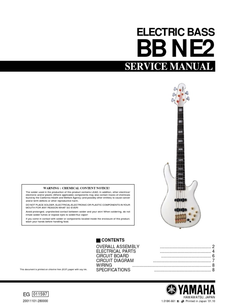 Manual Baixo Yamaha Bb Ne2 Bass Electric Guitar Wiring Schematic