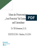 Existenz 2014 Schutz Des Privatvermoegens Asset Protection Fuer Existenzgruender