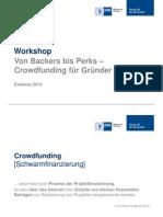 Existenz 2014 Von Backers Bis Perks Crowdfunding Fuer Gruender