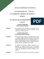 Ley Organica de Los Territorios Federales