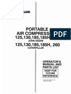 sullair 185 cfm compressor operation \u0026 maintenance \u0026 parts list John Deere 185 Wiring Diagram