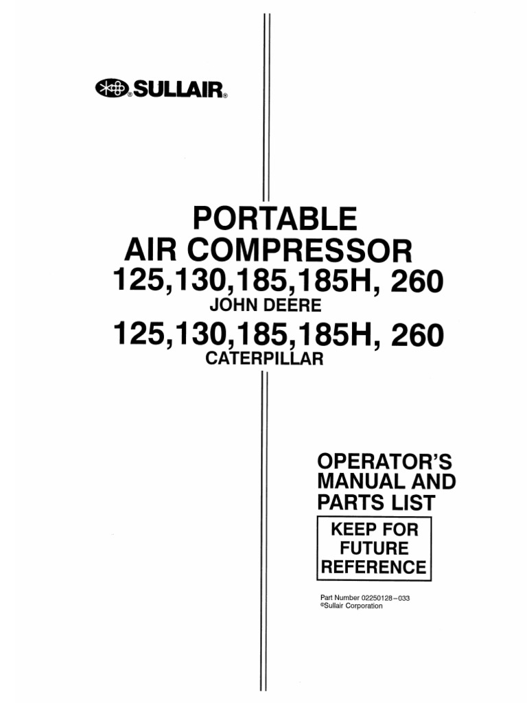 SULLAIR 185 CFM COMPRESSOR OPERATION & MAINTENANCE & PARTS