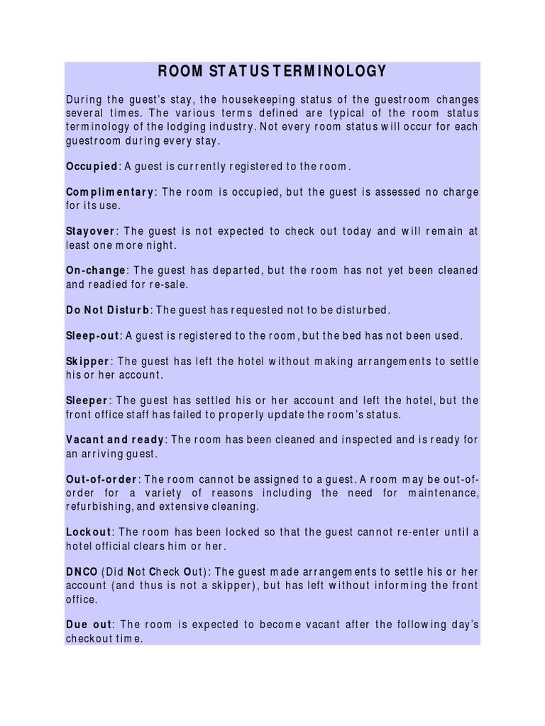 Room Status Terminology | Hotel (6 views)