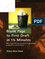 Blank Page to First Draft in 15 Minutes - The Most Effective Shortcut to Preparing a Speech or Presentation