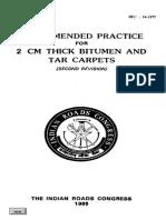 IRC 014-1977 Bitumen Carpet