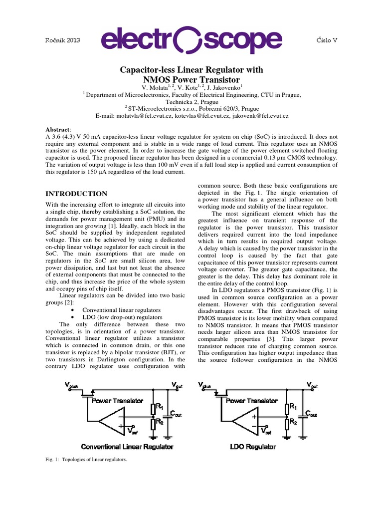 Capless Ldo Design Mosfet Field Effect Transistor Regulator