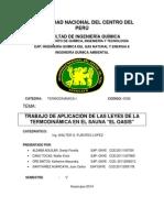 """TRABAJO DE APLICACION DE LAS LEYES DE LA TERMODINÁMICA EN EL SAUNA """" EL OASIS """""""