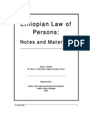 Ethiopian Law of Persons | Legal Personality | Jurisprudence