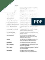 KEY TERMS – CHAPTER 10 Organizing Organizational