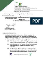 HR Agenda 8th December 2014