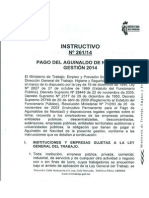 INSTRUCTIVO-261-14 ''PAGO DE AGUINALDO GESTIÓN 2014''