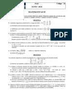 PAU 2014 Matemáticas II Galicia