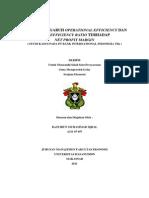Analisis Pengaruh Operational Efficiency Dan Cost Efficiency Ratio Terhadap