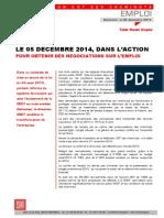 LE 05 DECEMBRE 2014, DANS L'ACTION  POUR OBTENIR DES NEGOCIATIONS SUR L'EMPLOI