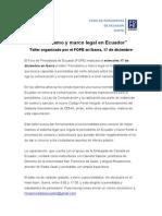 """""""Periodismo y marco legal en Ecuador"""" Taller organizado por el FOPE en Ibarra, 17 de diciembre"""