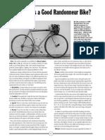 What Makes Good Randonneuring Bike?
