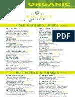 Project Juice Valencia Menu