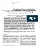 Thermoactive Cellulase-free Xylanase Production From Alkaliphilic Bacillus Strains using various agro-residues and their potential in biobleaching of kraft pulp