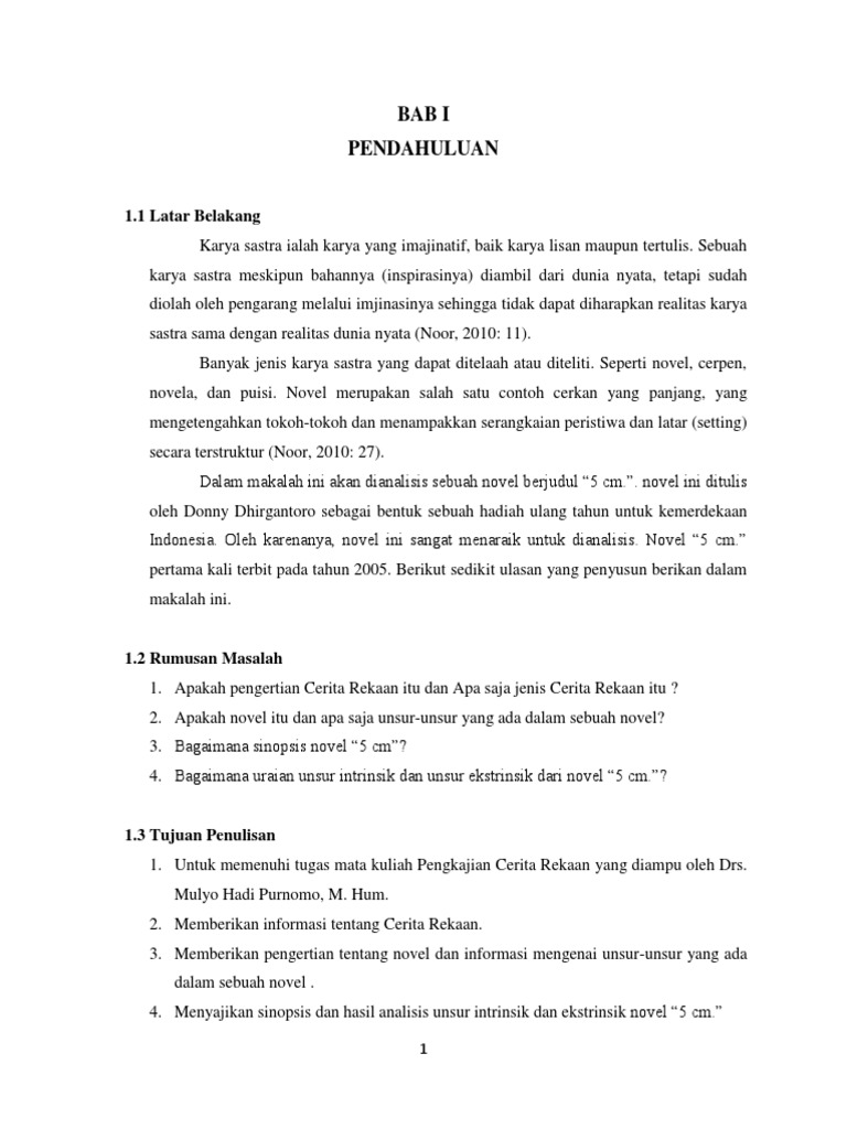 Analisis Novel 5 Cm Cerkan