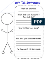 show dont tell graphic organizer