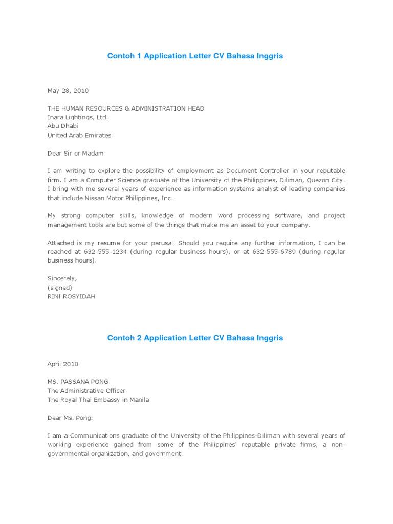 Application Letter Cv Bahasa Inggris Résumé Engineering