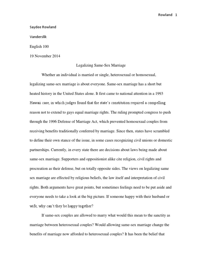 Science Fiction Essay Legalizing Same Sex Marriage Research Essay Draft   Same Sex Marriage   Defense Of Marriage Act Healthy Lifestyle Essay also Argumentative Essay Thesis Examples Legalizing Same Sex Marriage Research Essay Draft   Same Sex  Example Proposal Essay