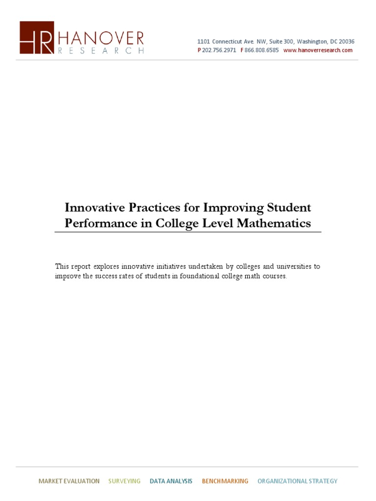 Innovative Practices for Improving Student Performance in College