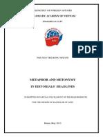 METAPHOR AND METONYMY  IN EDITORIALS' HEADLINES