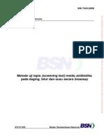 SNI 7424-2008 Metode Uji Tapis (Screening Test) Residu Antibiotika Pada Daging, Telur Dan Susu Secara Bioassay