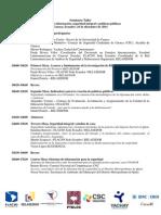Agenda Seminario Taller Sistemas de información, seguridad integral y políticas públicas