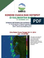 Cuaca Dan Hotspot Kalbar 29 November 2014