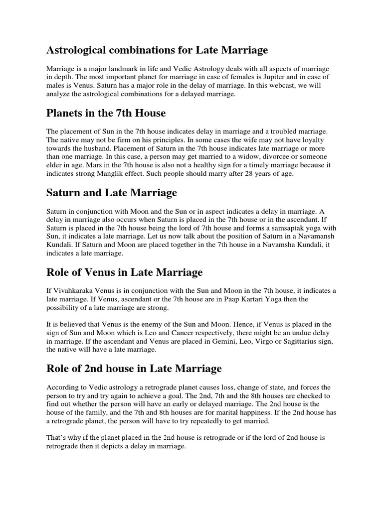 Combinations & Remedies for Late Marriage | Planets In