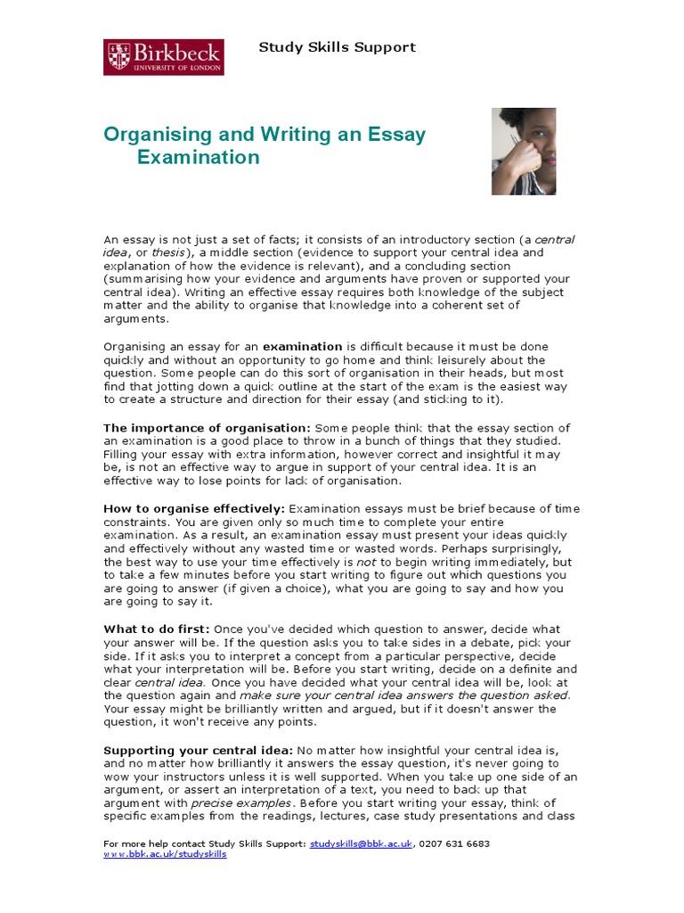 organising and writing essay examination essays argument