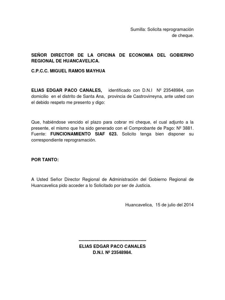 Modelo de solicitud de reprogramaci n de cheque for Solicitud de chequera
