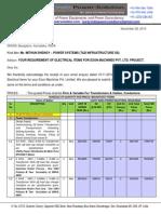 Quotation-Electrical Items-Exon Machines Pvt Ltd