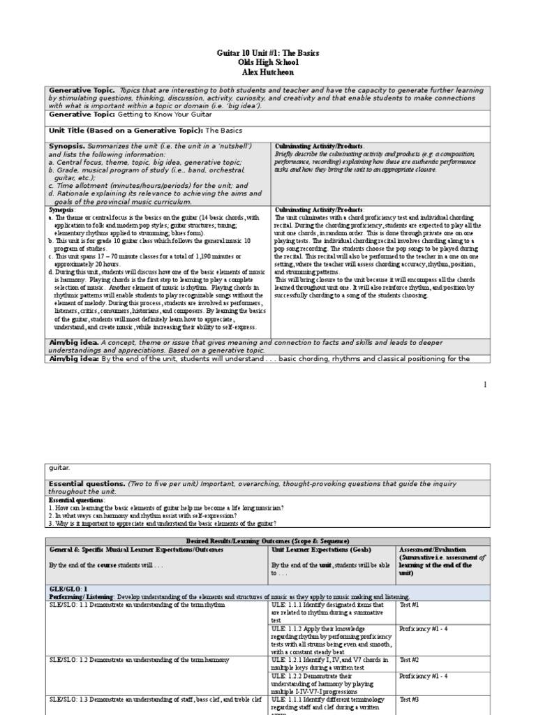 Guitar Unit 1 Educational Assessment Test Assessment