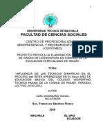 """Sara de""""INFLUENCIA DE LAS TECNICAS DINAMICAS EN EL PROCESO del INTER APRENDIZAJE EN EL 8avo AÑO DE EDUCACION  Carlin Ultimo Trabajo"""
