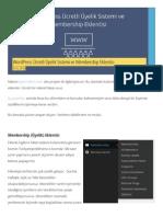 WordPress Ücretli Üyelik Sistemi Ve Membership Eklentisi