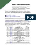 Información Sobre Prefijos de Compañías de Telecomunicaciones