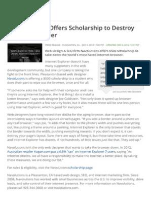 Web Designer Offers Scholarship To Destroy Internet Explorer Web Design Internet Explorer
