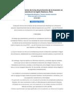 Análisis de Los Efectos de La Ley de Promoción de La Inversión en La Amazonía en La Región Huánuco