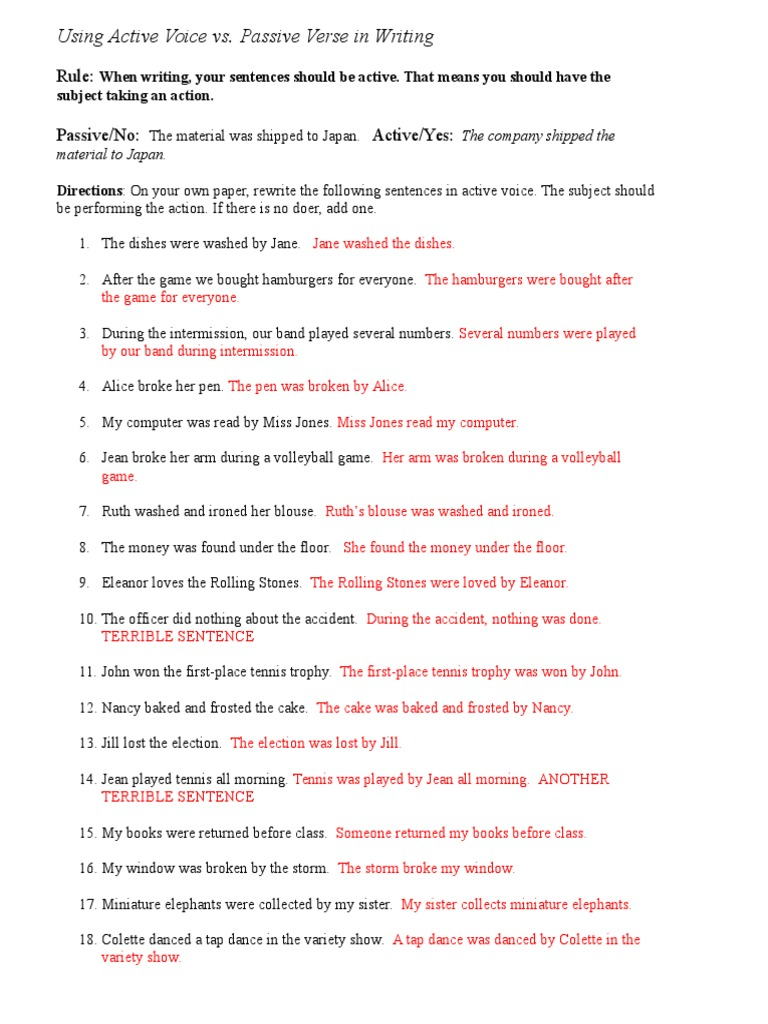 Wednesday Worksheet Key – Passive and Active Voice Worksheet