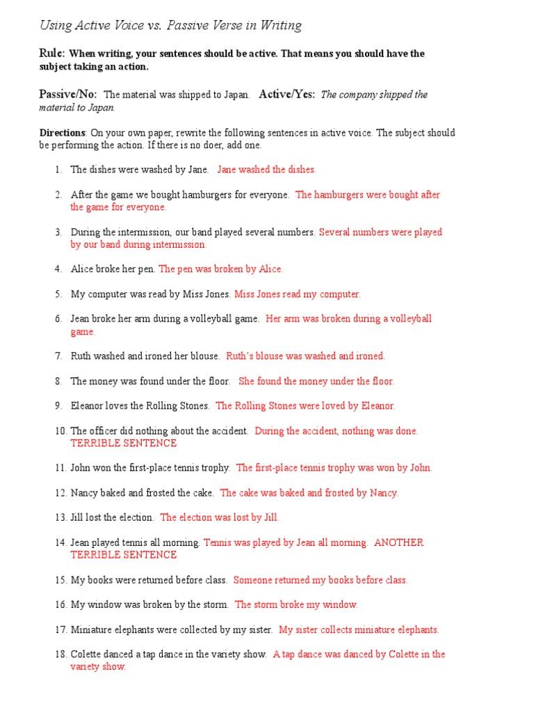 worksheet Active Vs Passive Voice Worksheet wednesday worksheet key leisure