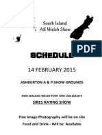 South Island All Welsh Show Schedule 2015