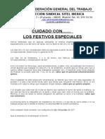 Comunicado Festivos Especiales 2014